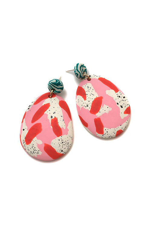 Emily Green Drop Earrings - Magnolia Speckle