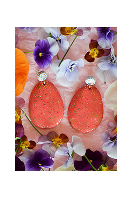Emily Green Drop Earrings - Mist Blue and Lychee Terrazzo