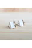 Renee Waters - White cube studs - gold dipped