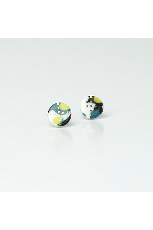 Renee Waters - Lime green mix sphere studs - gold speckled