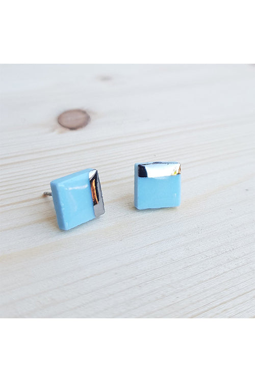 Renee Waters - Light blue cube studs - platinum dipped