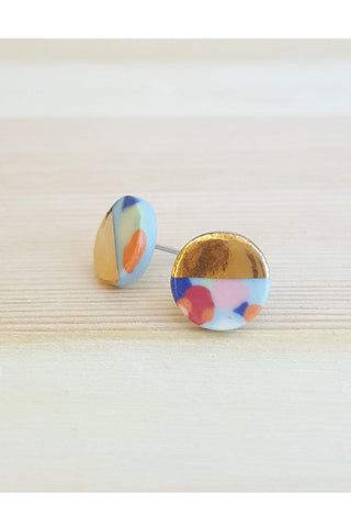 Renee Waters - Blue confetti studs - gold dipped 3