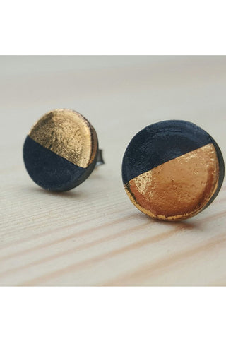 Renee Waters - Ebony sphere studs - gold dipped