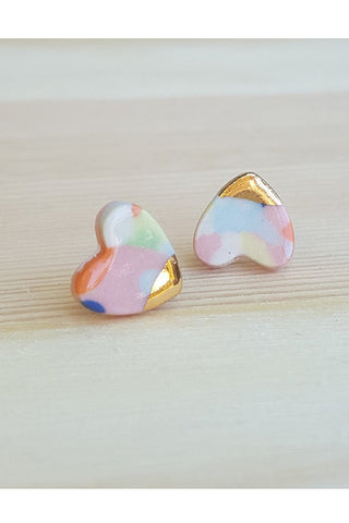 Renee Waters - Pink confetti heart studs - gold dipped