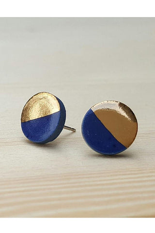 Renee Waters - Royal blue studs - gold dipped