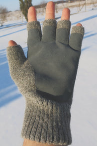 Double Knit Alpaca Fingerless Glove with Leather