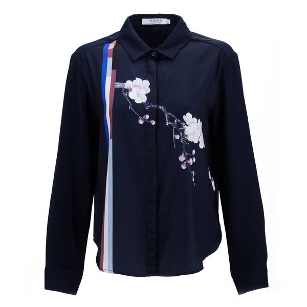 Womens Dark Blue Blossom Blouse Tops Shirts