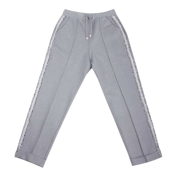 Grey Side Stripe Sweatpants Pleated Track Pants