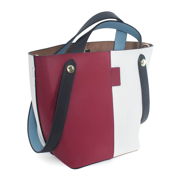 Dark Red and White Leather Bucket Bag