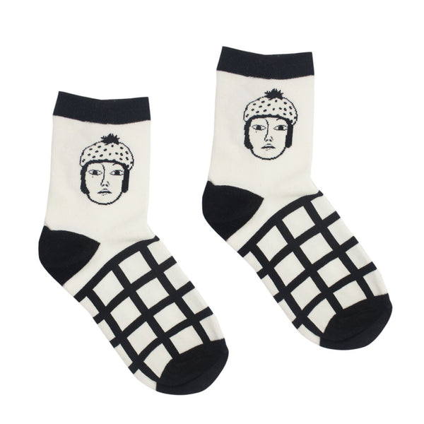 Grid Face Graphic Socks