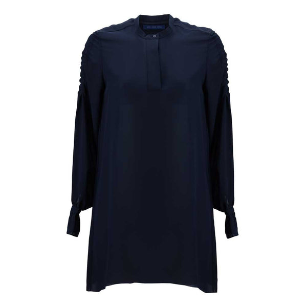 Dark Blue Ruffle Sleeve Breezy Blouse