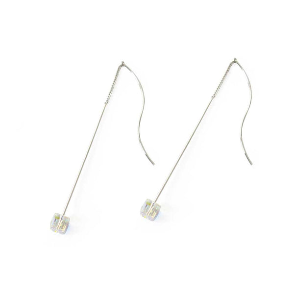 Long Crystal Cube Thread Earrings