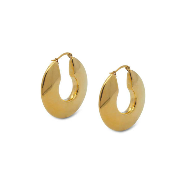 Gold Plated Disc-Shaped Statement Hoop Earrings
