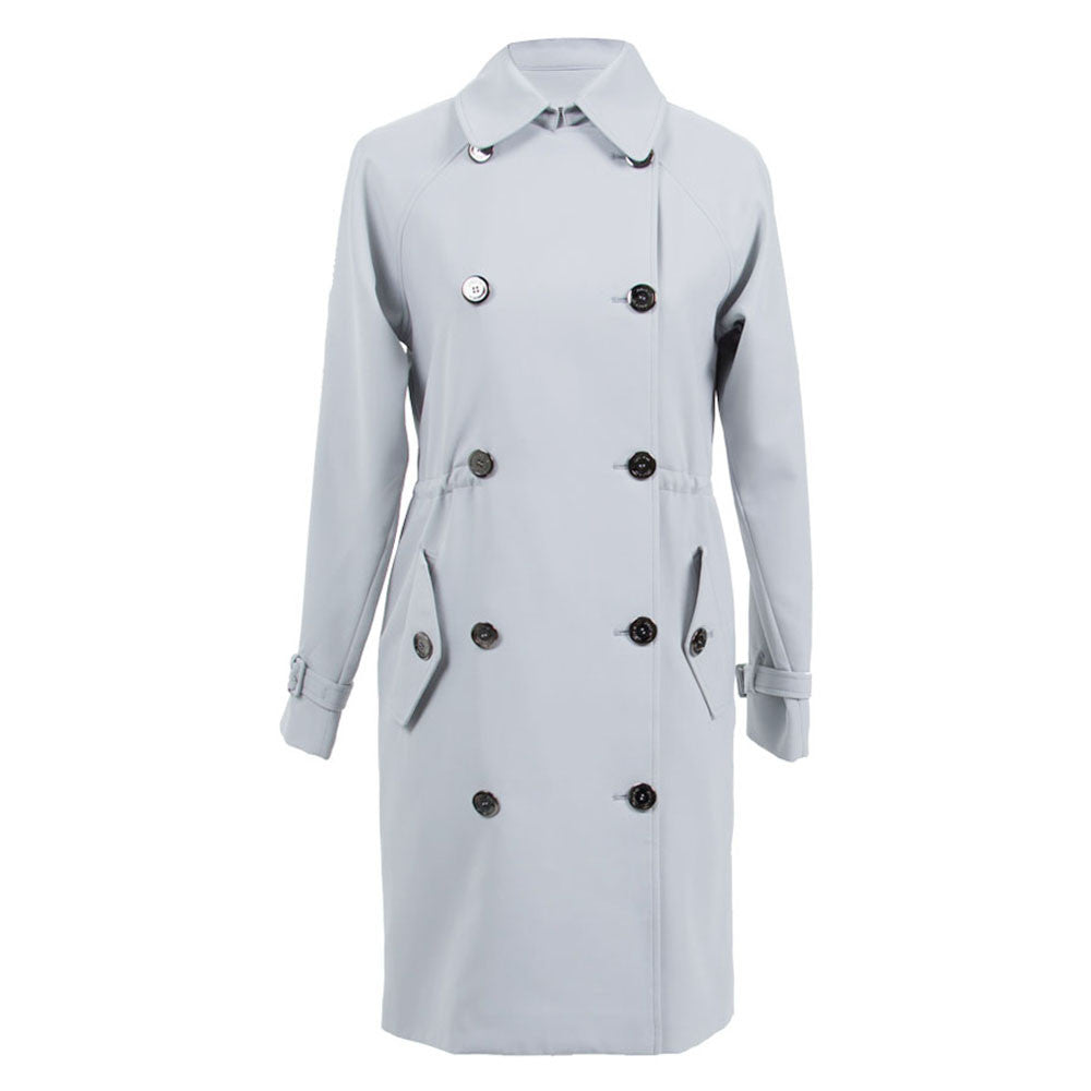 Light Grey Double-Breasted Trench Coat