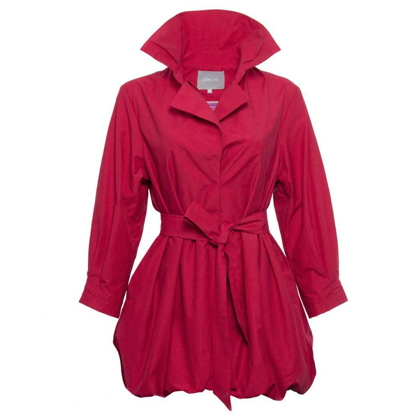 Vibrant Red Casual Trench Jacket