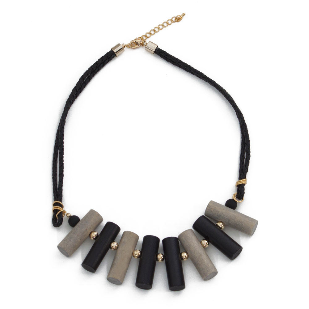 Multi Color Wooden Block Statement Necklace