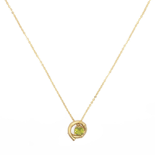 Green Spiral Bamboo Necklace