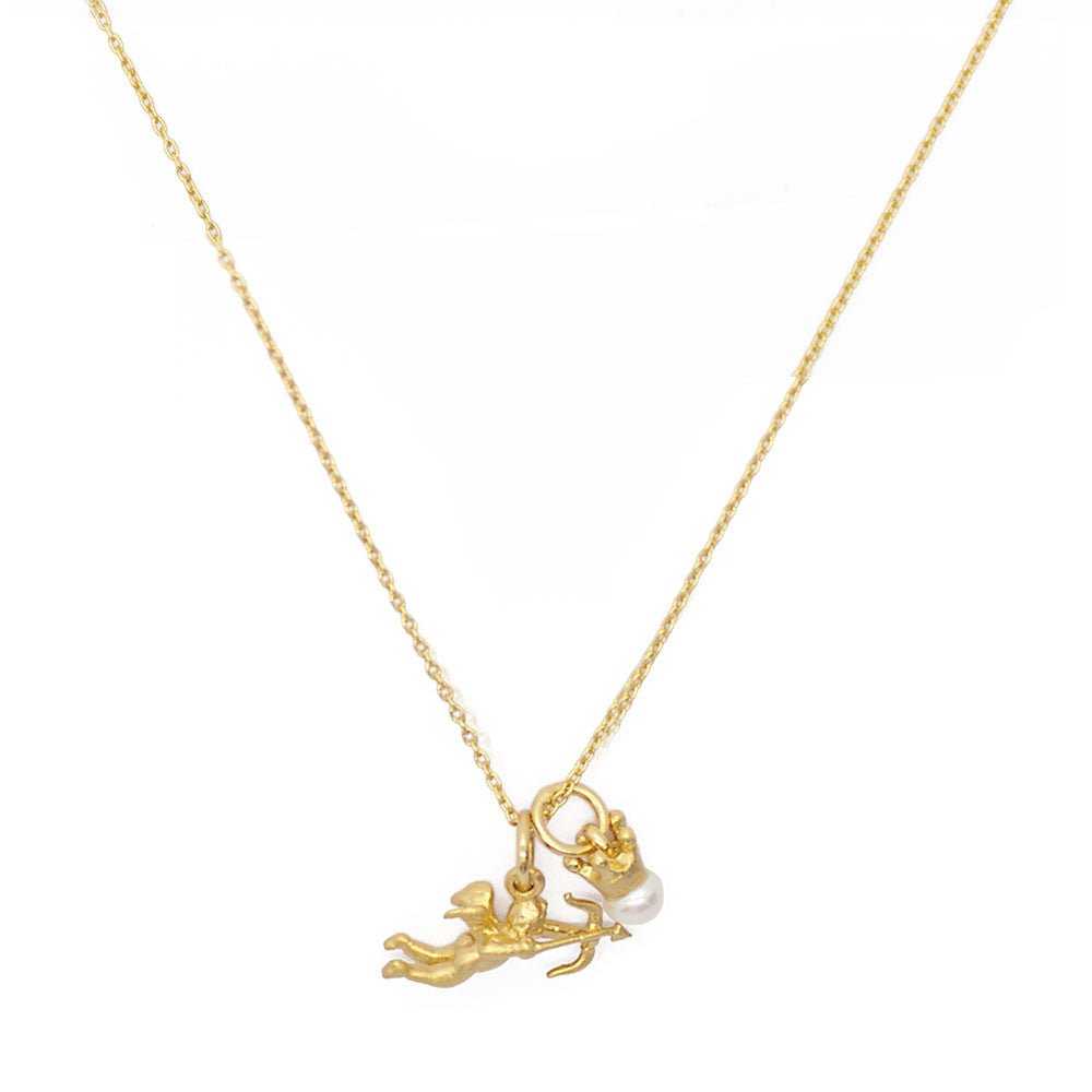 Cupid and Crown Pearl Necklace