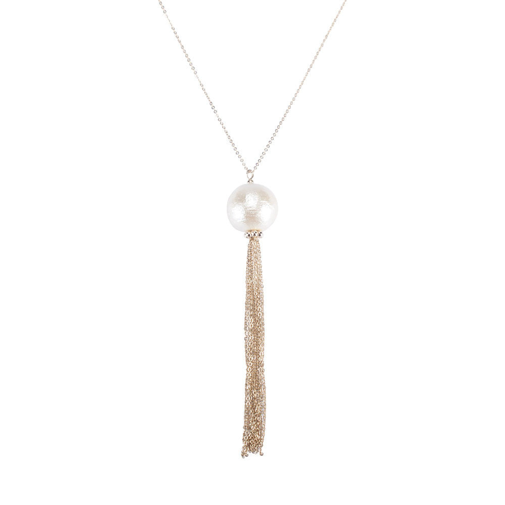 Long Cotton Ball Tassel Necklaces