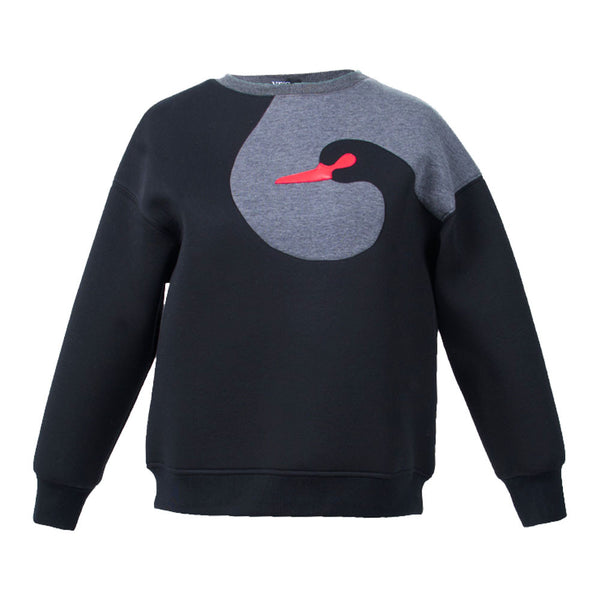 Graphic Swan Fleece Sweatshirt