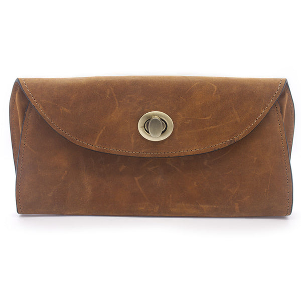 Handmade Textured Camel Leather Clutch