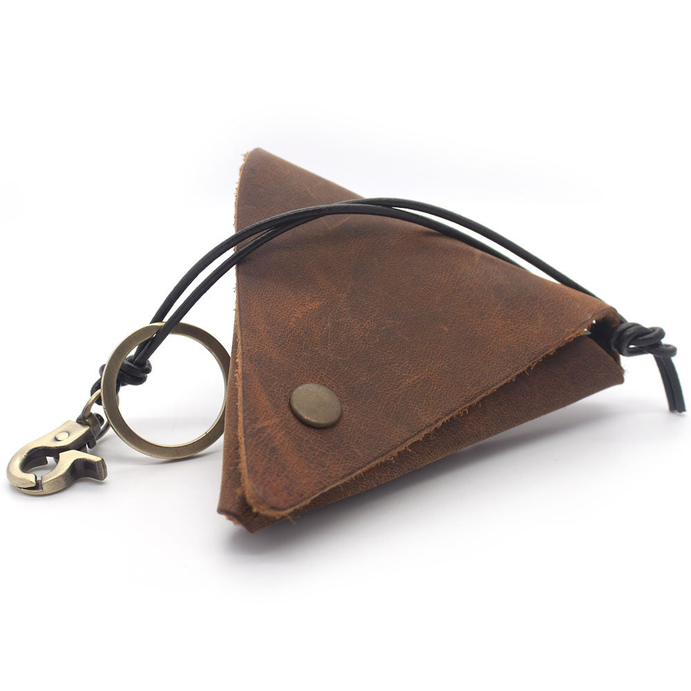 Handmade Triangular Folding Leather Pouch