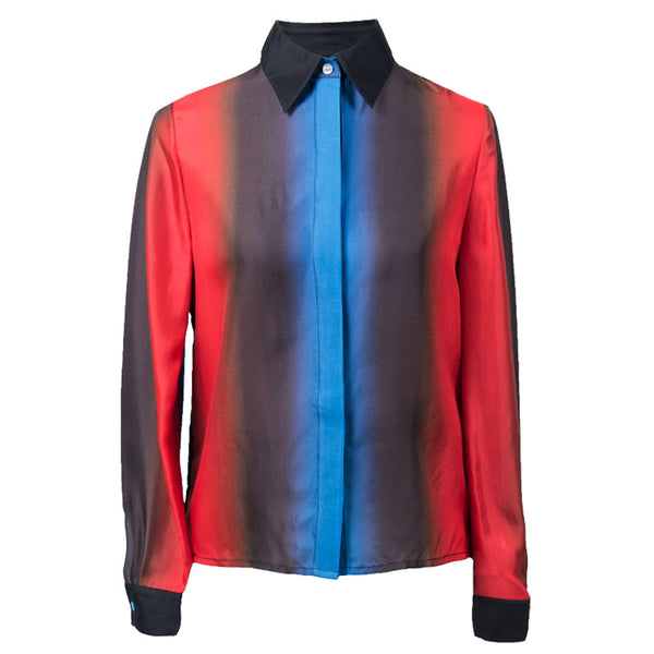 Electric Ombre Silk Blouse