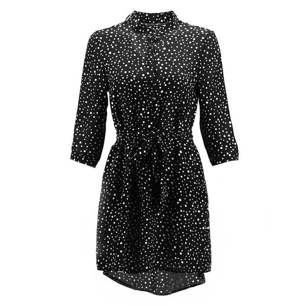 Removable Tie Neck Polka Dot Shirtdress