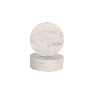 CIRCLE MARBLE COASTERS | White | Set of 4