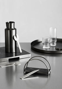 GEO NAPKIN HOLDER | Black Nickel & Grey Tundra