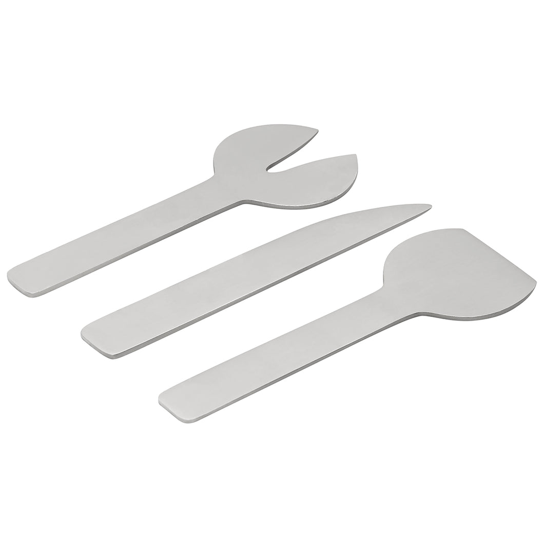 GEO 3-PIECE CHEESE SET | Brushed Nickel