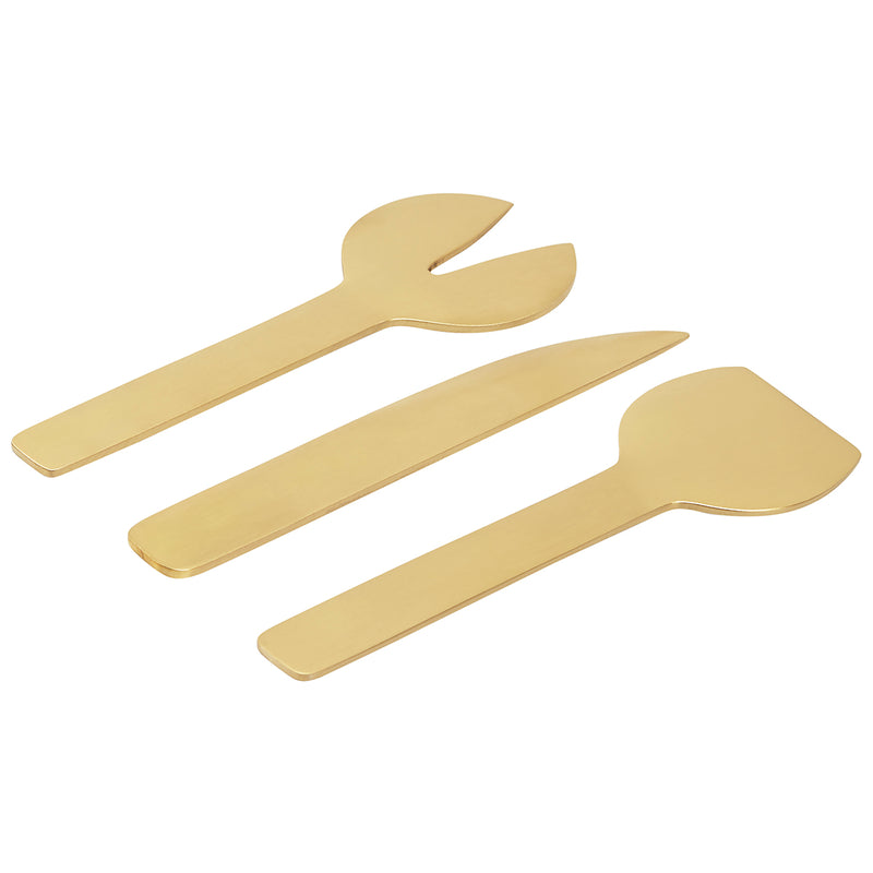 GEO 3-PIECE CHEESE SET | Brass
