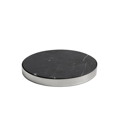 GEO COASTERS | Brushed Nickel & Nero | Set of 4