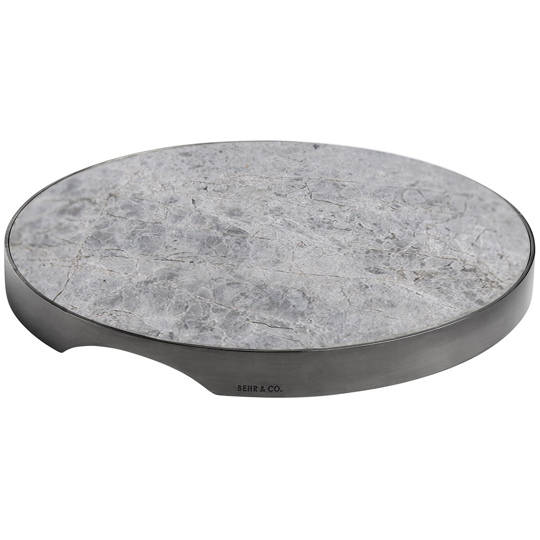GEO GRAZING BOARD ROUND | Black Nickel & Grey Tundra