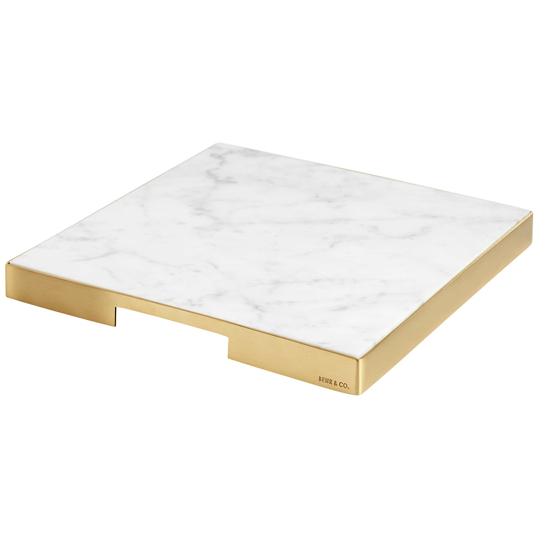 GEO GRAZING BOARD SQUARE | Brass & Carrara