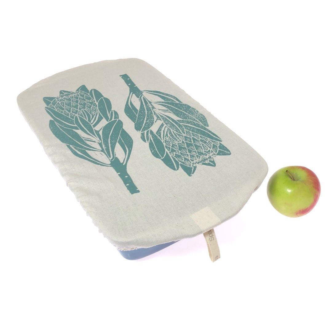 Dish and Casserole Cover Rectangle Protea Print | breathable cover for a casserole
