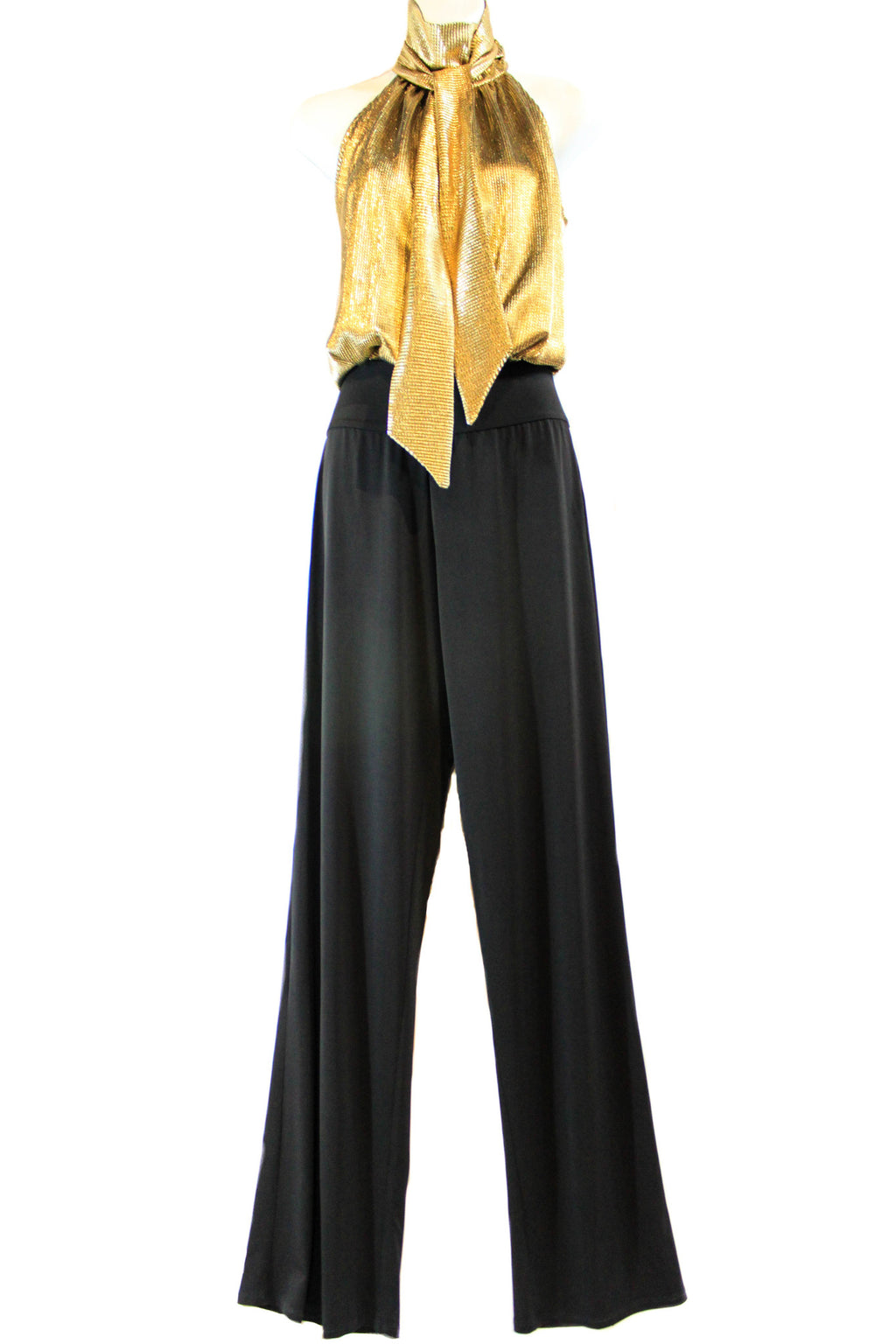Gold Halter Top Jumpsuit