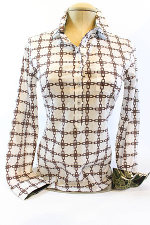 Chain Link Expresso & White Long Sleeve Shirt