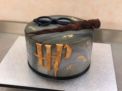 Harry Potter Themed Cake (With Gold Leaf)