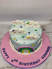 Rainbow and Clouds Birthday Cake