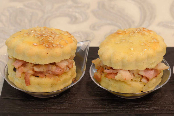 Cheddar cheese scones with honey roasted ham and mustard - Mannarinu - 2