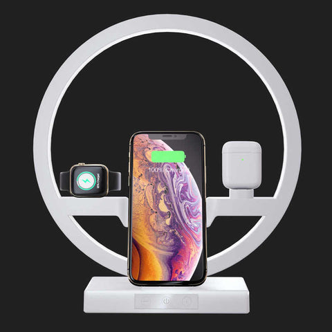 Like New 3 IN 1 QI Fast Wireless Charger Dock for iPhone 8, 8 Plus, X and above, for Apple Watches, Airpods, Samsung S10 / S9+ / S9 / S8 / S8+ / Note 9/8 and other phones that support Qi Charger Holder LED Lamp White