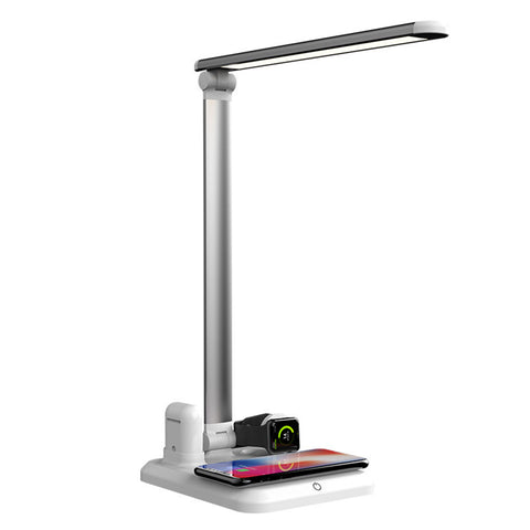 Folding 4 in 1 Wireless Desk Lamp Fast Charging Dock (Compatible with iPhone X, XS Max, Apple Watch, Airpod and Samsung S10 / S9 Plus/ S9 / S8 / S8 Plus / S7 / Note and other phones that support Qi)  (Silver)