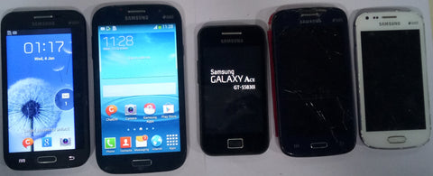 Combo of Used Samsung Galaxy Grand Quattro(GT-I8552) + Samsung Galaxy Core(GT-I8262) + Samsung Galaxy Grand(I9082) + Samsung Galaxy S Duos(S7562) + Samsung Galaxy Ace (S5830I)+