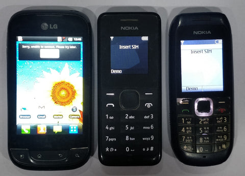 Combo of LG Optimus Net (P690) + Nokia 105 2019 (Single SIM) + Nokia 1616 (Refurbished- Mobiles)