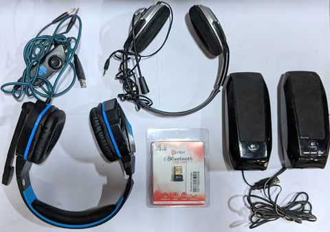 Combo of Logitech S-150 USB speaker + HP Headphone + COSMIC BYTE H1 GAMING HEADPHONE + Enter Bluetooth Dongle (E-UB5)