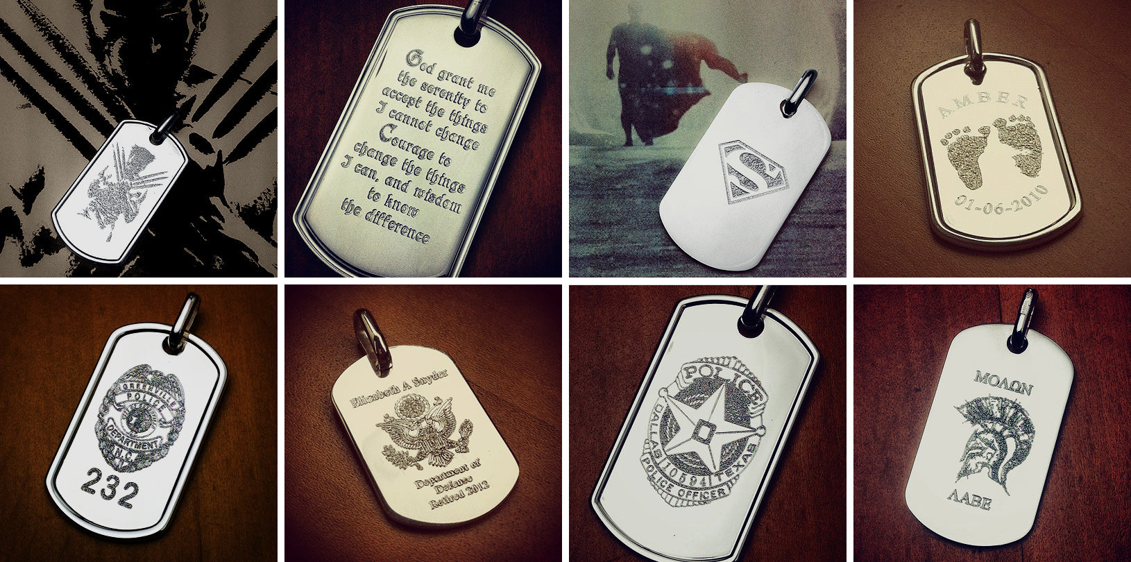 Sterling Silver Dog Tag Necklaces for Men - Custom Engraved
