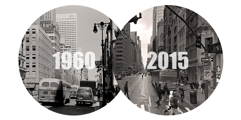 47th Street New York City in 1960 and 2015
