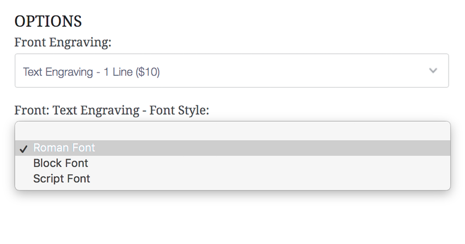 Select your engraving font style