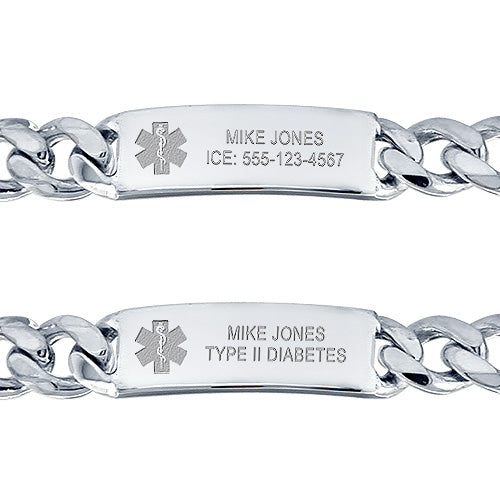 Medical alert id bracelet front engraving options